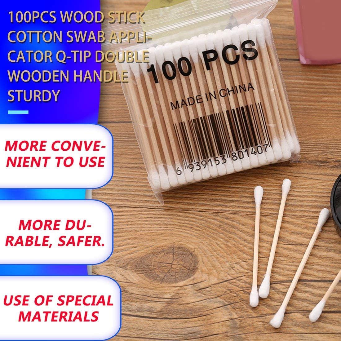 100pcs aplicador de bastoncillo de algod/ón de palo de madera Q-tip doble mango de madera resistente//blanco