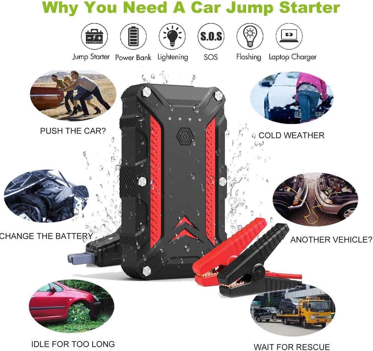YORKING Auto Starthilfe Jump Starter Ladeger/ät Starthilfe Booster Wasserdicht Starthilfe Powerbank f/ür Notfall Car Jump Starter