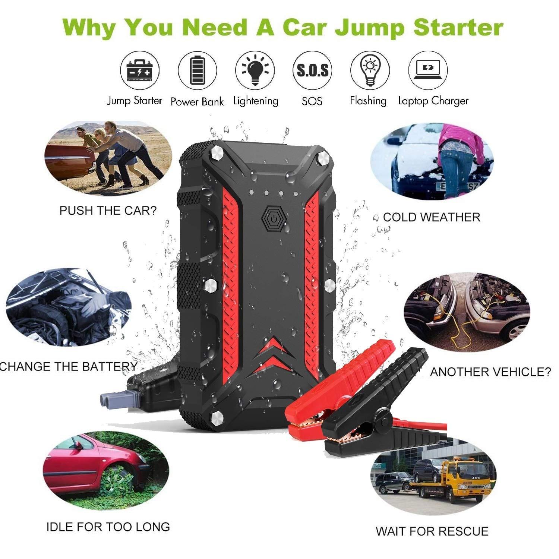1200A Jump Starter 12000mAh Kfz Starthilfe Zubeh/ör f/ür Auto Starthilfe