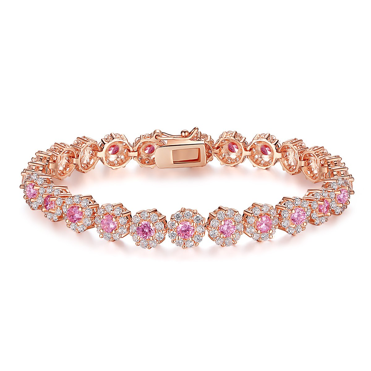 BAMOER Classic Luxury Rose Gold Plated Bracelet with Sparkling Cubic Zirconia Stones for Women Girls for Her JIB084-17+BZ0013