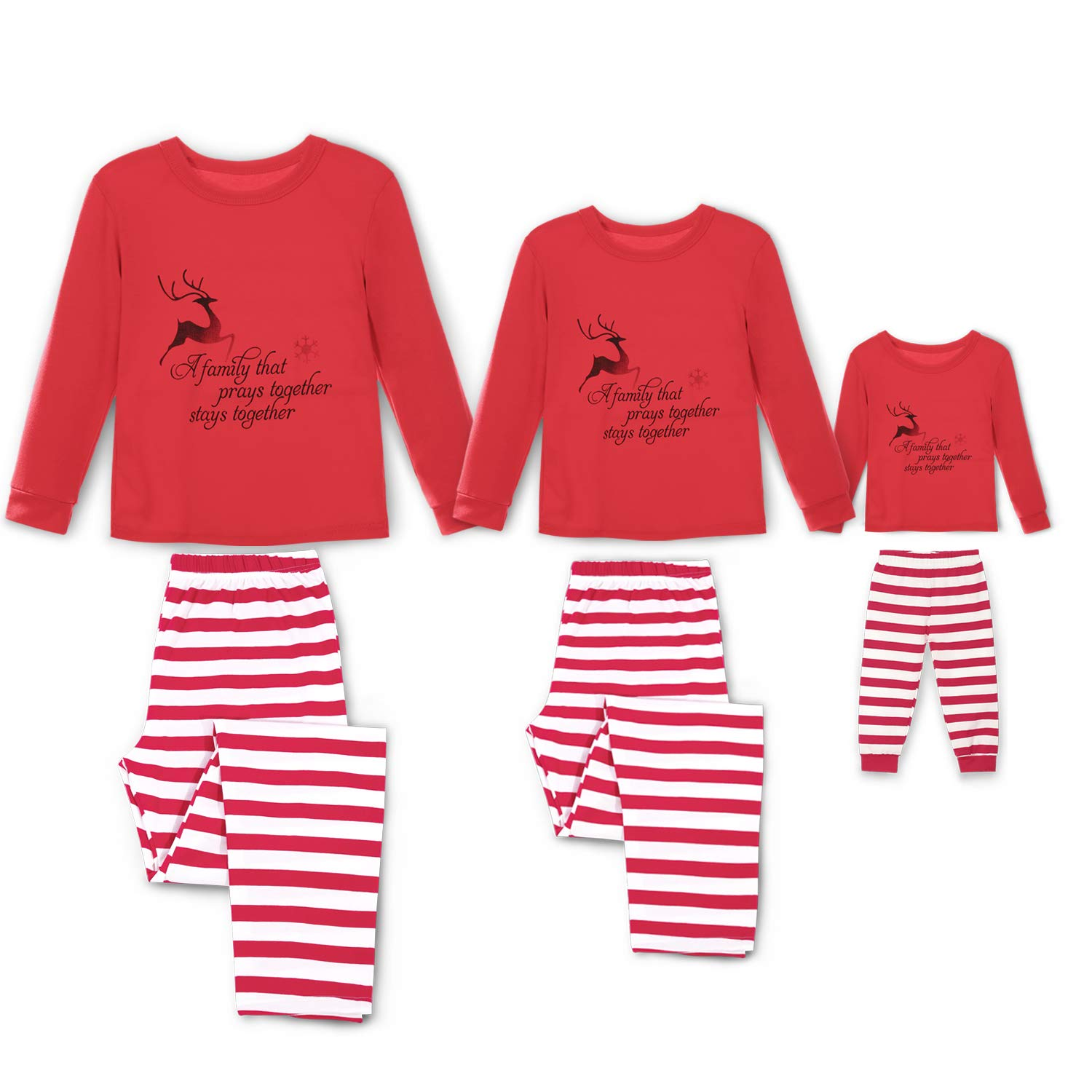 SUNNYBUY Family Christmas Pajamas Set Matching Men, Women Kids PJs Warm Tops Bottoms Classic Red Colors