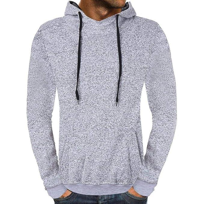 Resplend Sudadera con Capucha Casual de otoño sólido para Hombre Outwear Tops Blusa