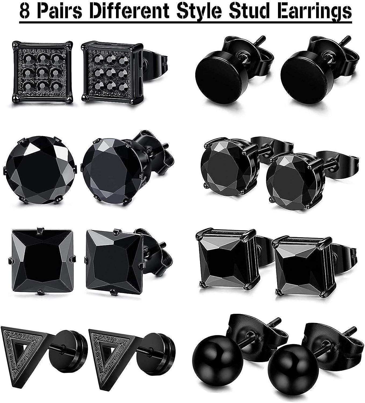 Finrezio 12Pairs Creole Stainless Steel CZ Stud Earring for Men Triangle Ball Stud Earrings Hoop Earrings Black