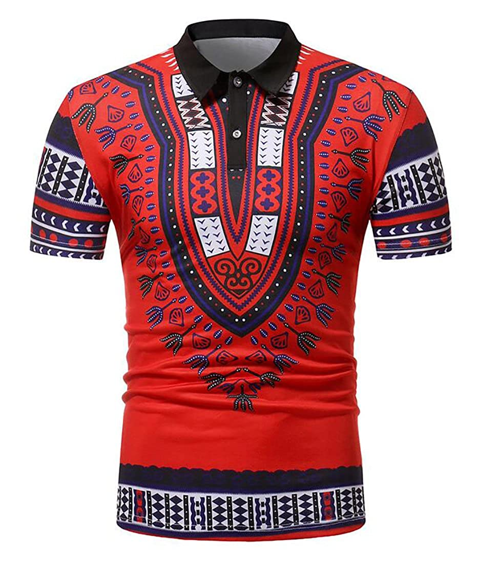 Bravepe Mens Lapel African Print Classic Short Sleeve Polo Shirt