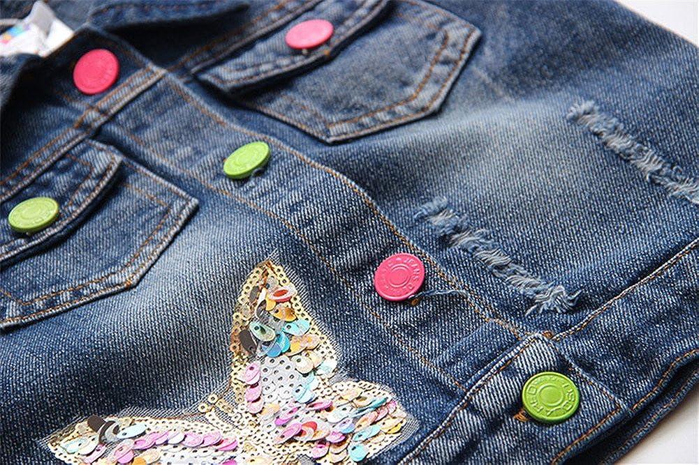 Mud Kingdom Girls Sequin Butterfly Denim Vest Button-Down