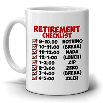 Amazon funny retirement gift checklist coffee mug perfect funny retirement gift checklist coffee mug perfect humor present ideas for coworker party invitations stopboris Gallery