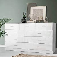 Artiss 9-Drawer Lowboy Chest of Drawers Wooden White