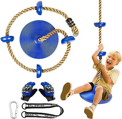 CHAIRLIN Columpio con plataforma para niños para colgar en el exterior con forma de árbol, columpio, cuerda de escalada con guantes.