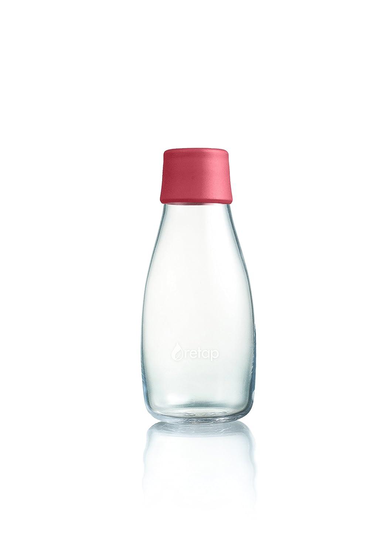 Retap ApS 0,8 L Botella de Agua de Vidrio de borosilicato, Vidrio, Raspberry, 0.3 / Small: Amazon.es: Hogar