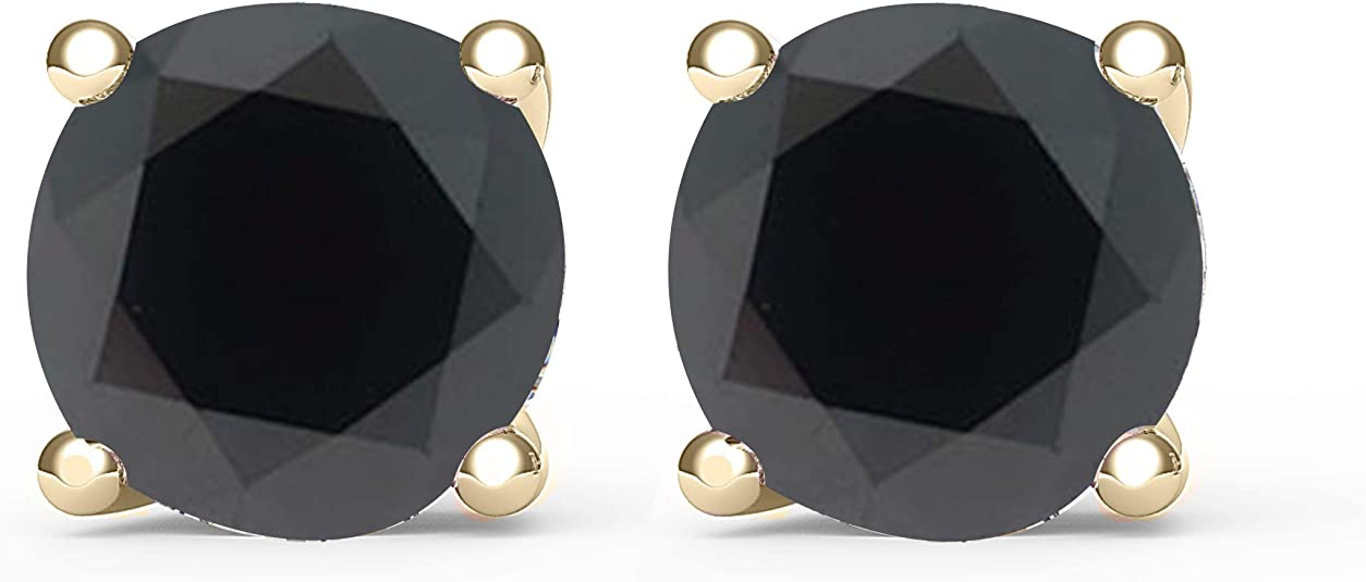 3mm Nature Unearthed 14k Yellow Gold ROUGH .25ct Diamond Studs Stud Black Brown Champagne .20ct .30ct  GE45