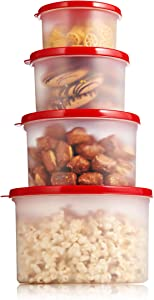 Sealco Food Storage Containers with Lids – Reusable Plastic Containers – BPA-Free, Stackable, Microwave, Dishwasher, & Freezer Safe 4 Piece Set
