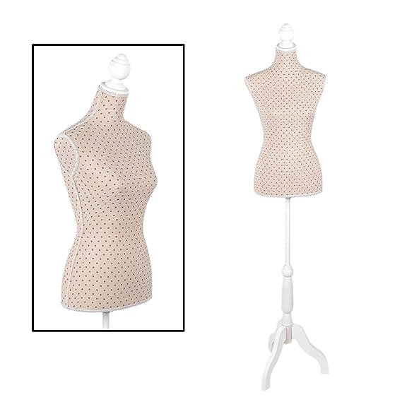 Maniquí color beige para una mujer de talla 36/38 con elegante estampado de lunares: Amazon.es: Hogar