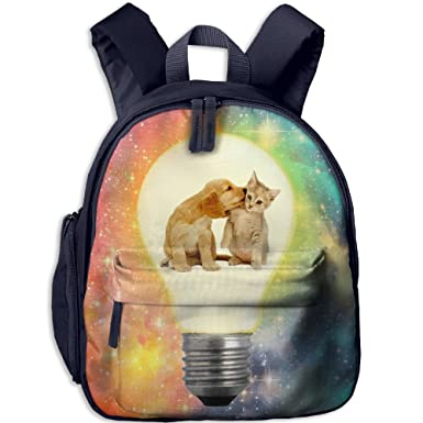 a5e0f0fbfe9a Cat And Dog Making Lamb Electry Toddler Kids Backpack Preschool Backpack  Navy Mini Backpack