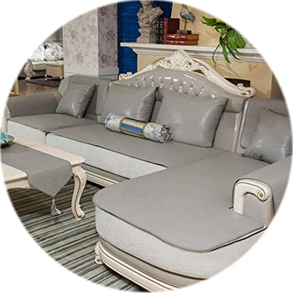 Amazon.com: HANBINGPO Grey Vintage PU Leather Sofa Cover ...