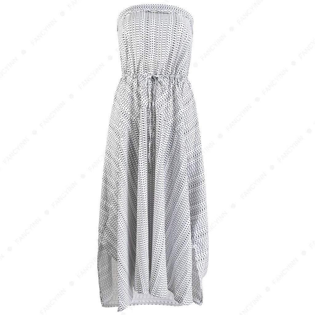 GNYD Vestidos Verano Mujer Playa Casual Bohemia Fiesta Grande,Vestido Irregular Estampado Envuelto Estampado