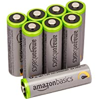 AmazonBasics High Capacity AA Pre-Charged Rechargeable Batteries 2500 mAh / minimum: 2400 mAh [Pack of 8] - Outer Jacket May Vary