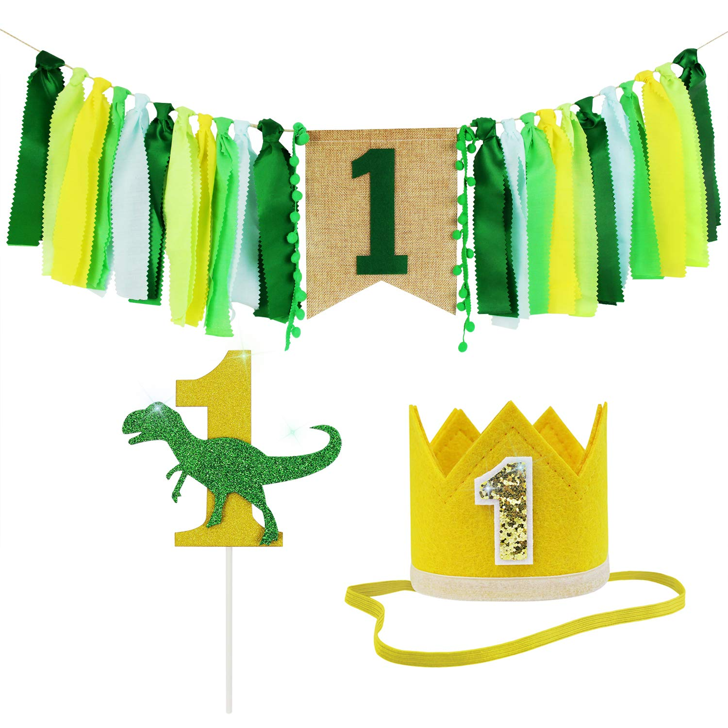 ZITA ELEMENT 1st Birthday Boy Girl Decorations - Hight Chair Banner Crown Topper