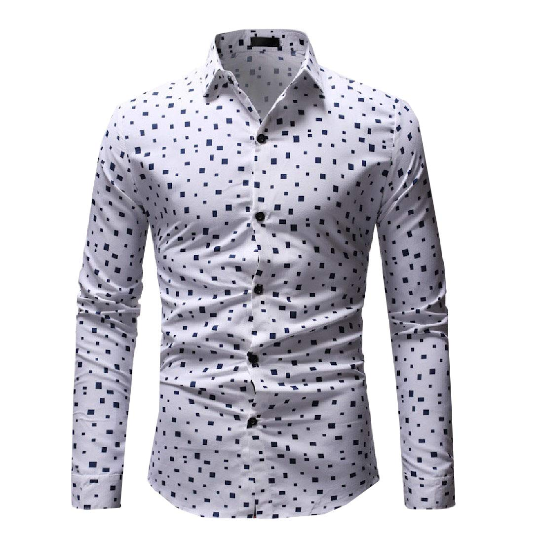 Ruhua Mens Long Sleeve Print Fold-Collar Buttoned Basic Style Western Shirt