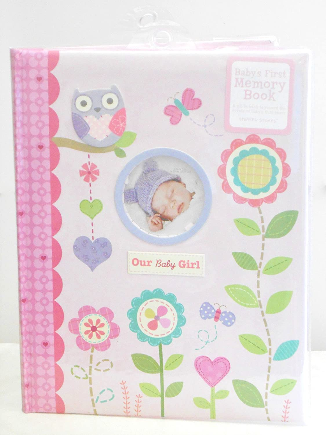 Baby's First Memory Book Our Baby Girl Pink with Flowers, Owls, Hearts, & Butterflies CR Gibson MB2-12023