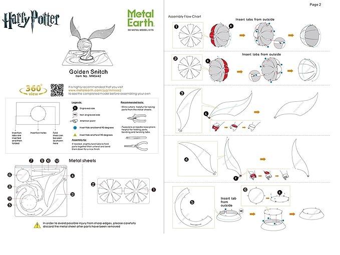 Metal Earth - Fascinations, HARRY POTTER GOLDEN SNITCH Rompecabezas de metal 3D, modelos de corte por láser, 3D metal Puzzle: Amazon.es: Juguetes y juegos