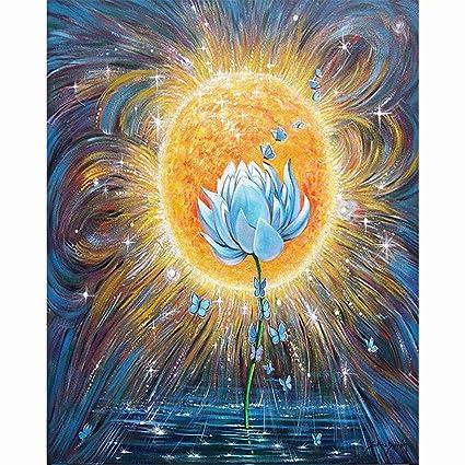 Amazoncom Diy 5d Diamond Painting By Number Kit Blue Lotus Flower