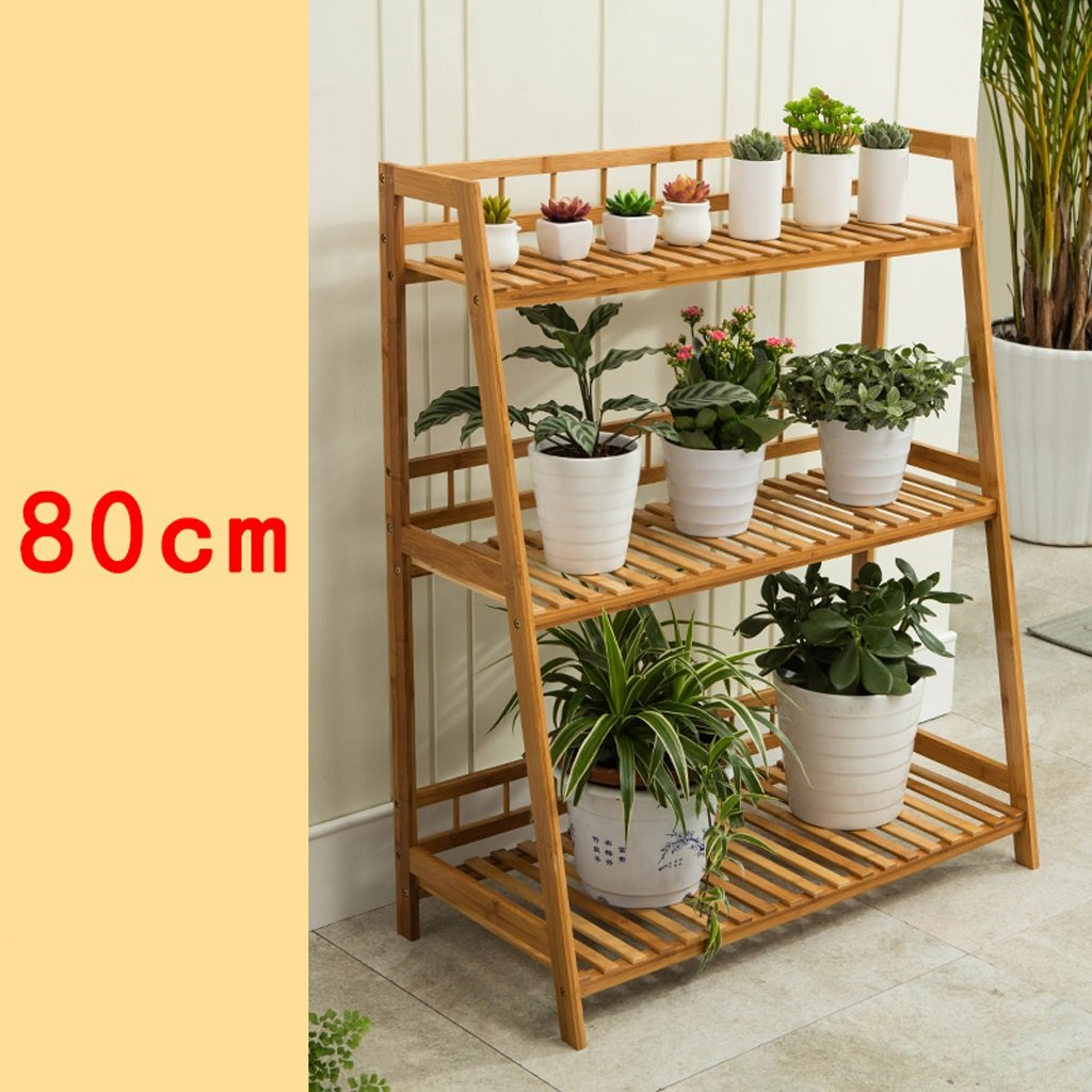 HJ Scala di bambù del parapetto della mensola della mensola dei vasi di bambù di qualità Garden (colore   A, Dimensioni   80cm)