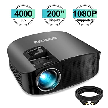 Projector, GooDee HD Video Projector 4000L Outdoor Movie Projector, 200  Home Theater Projector Support 1080P, Compatible with Fire TV Stick, PS4, HDMI, VGA, AV and USB
