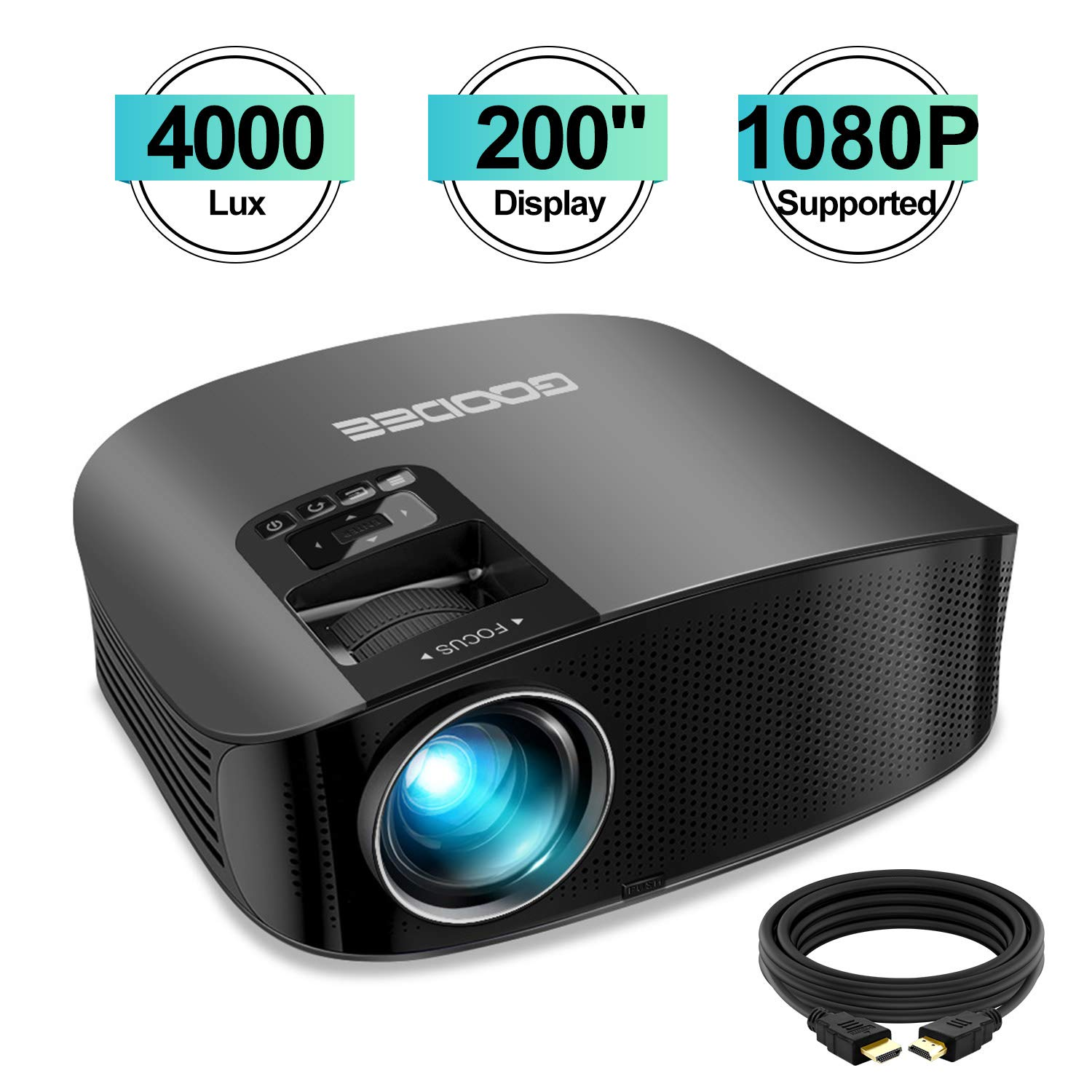 Projector, GooDee HD Video Projector 4000L Outdoor Movie Projector, 200'' Home Theater Projector Support 1080P, Compatible with Fire TV Stick, PS4, HDMI, VGA, AV and USB