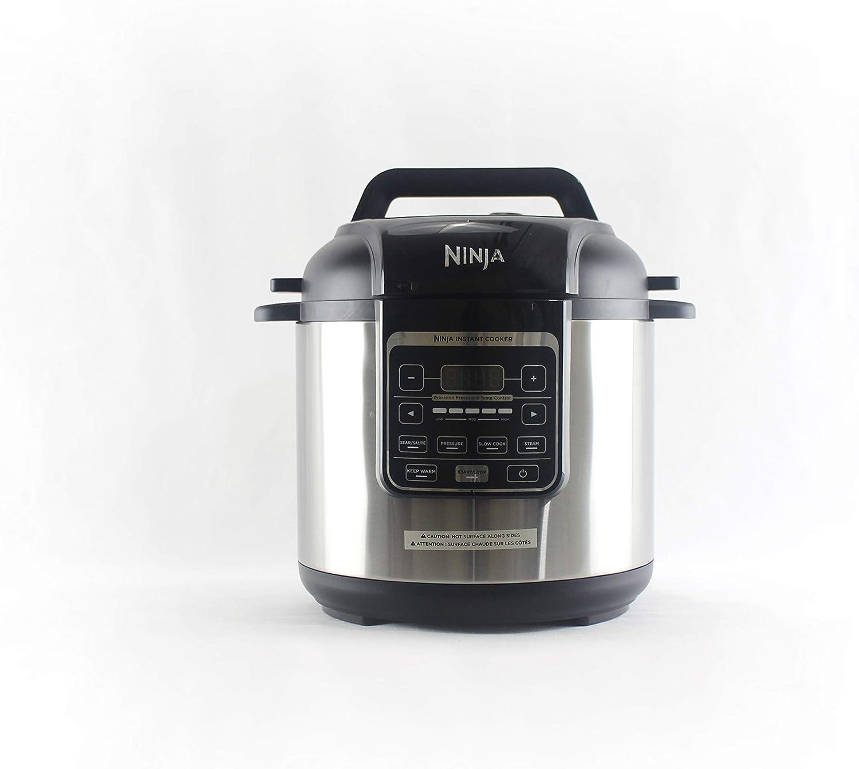 Ninja Instant Cooker1000-Watt Base 2 Pressure Levels with 6-Quart Ceramic Coated Nonstick Pot and Stainless Steel Rack PC101 (Renewed)