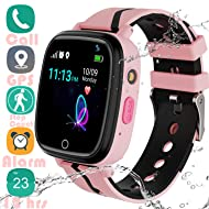 "YENISEY Kids Smart Watch GPS Tracker - 2019 Waterproof 12 Hrs Children Smart Watches with 1.4"" Touch Screen SOS Phone Call Talkie Walkie Pedometer for Boys Girls 4+ (Pink GPS)"