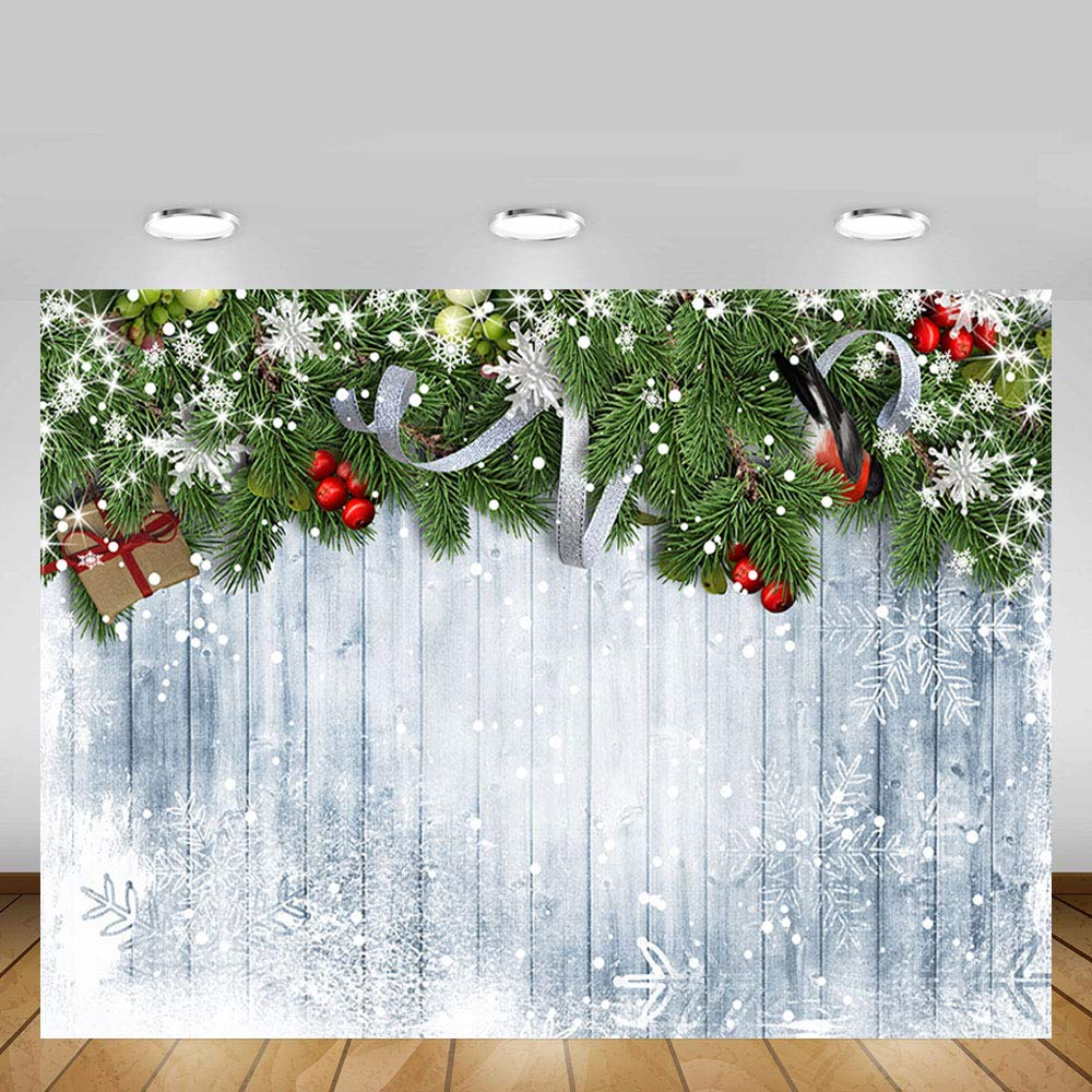 MEHOFOTO Splendid Merry Christmas Party Banner Holiday Winter Photo Studio Backdrop Snow Man Christmas Bells Wood Background for Photography 7 x 5 ft