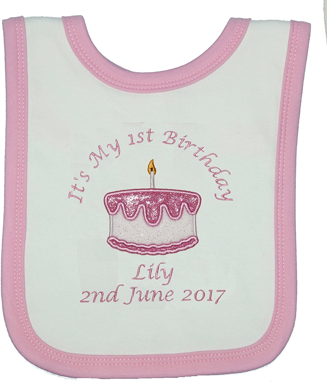 Baby Girl's Personalised 1st Birthday Crown Bib Cake Smash