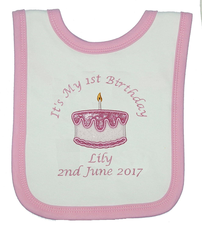 Pleasant Baby Girls Personalised 1St Birthday Cake Bib Cake Smash White Funny Birthday Cards Online Elaedamsfinfo