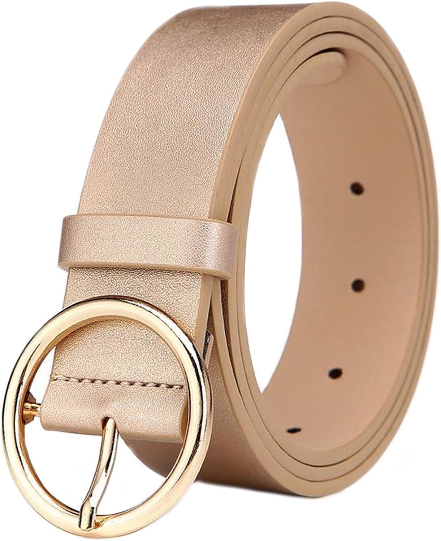 MESHIKAIER 41 * 1.3 Pulgadas Fashion Mujer PU Cuero Cinturón Casual Cintura Cinturón + Redondo Metal Hebilla