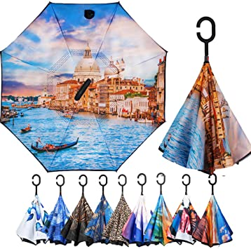 Double Layer Inverted Umbrella Cars Reverse Umbrella With C-Shaped Handle 3D Dragon Scales Sturdy Windproof And UV Protection Compact Travel Umbrella For Women Men