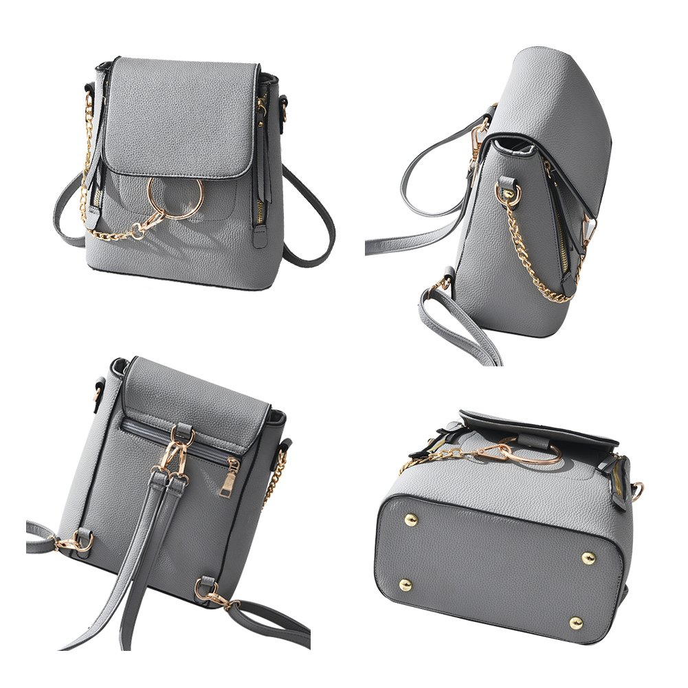 SCENTW Fashion Women Crossbody Backpack Purse Small Pu Leather Shoulder Bag Ladies Cute Chain Satchel Bag (Balck) by SCENTW (Image #5)