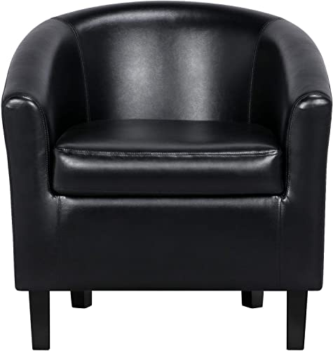 YAHEETECH Accent Chair Modern Arm Club Chair Faux Leather Tub Barrel Style