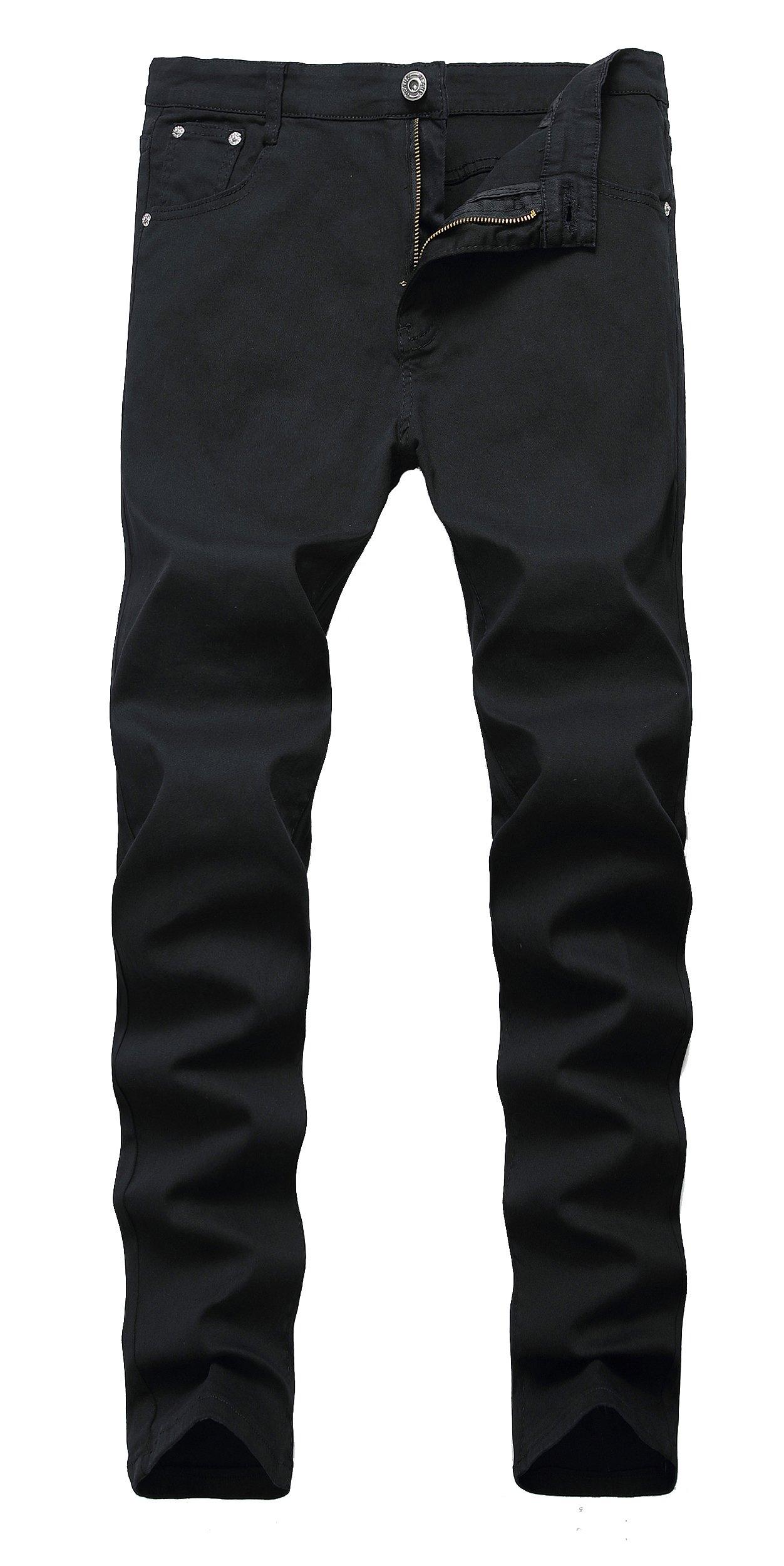 Qazel Vorrlon Men's Light Blue Skinny Ripped Jeans Destroyed Distressed Pencil Pants Black,Size 36