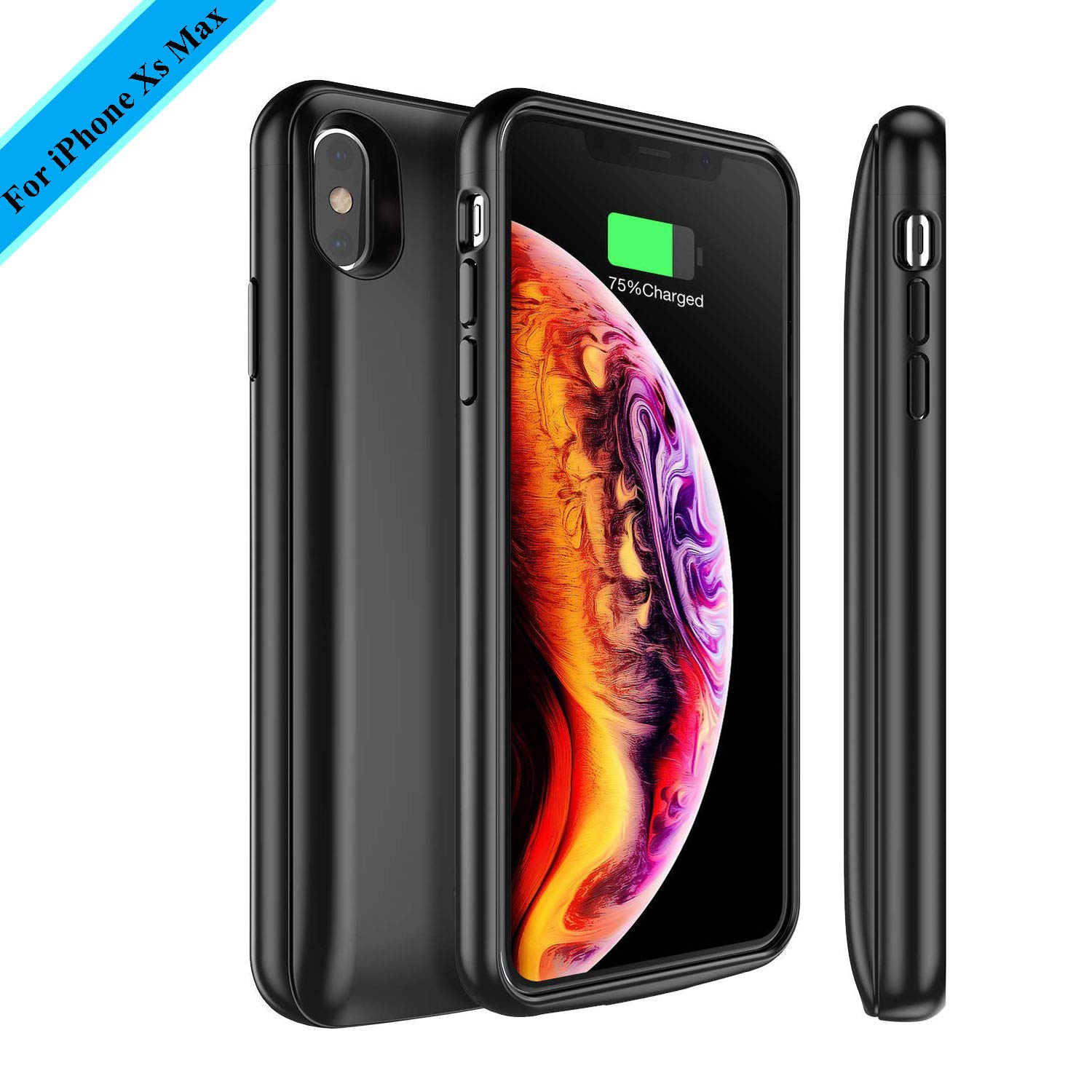 Battery Case Compatible with iPhone Xs Max, 5000mAh Rechargeable External Portable Battery Charger Pack Slim Extended Power Bank Backup Charging Protective Case for iPhone Xs Max 6.5 inch (Black) XBC Tech