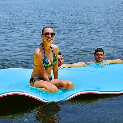 9 x 6ft Floating Foam Pad Mat Island Water Lakes Boat Swimming Pool Beach Sea