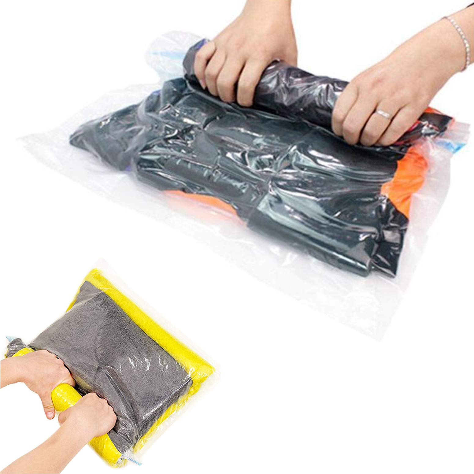 Pekaa Roll Up Travel Space Saver Storage Bag 12-Count Protect Clothes Compression Bags 6 Large (28'' X 20'') and 6 Medium (24'' X 16'')