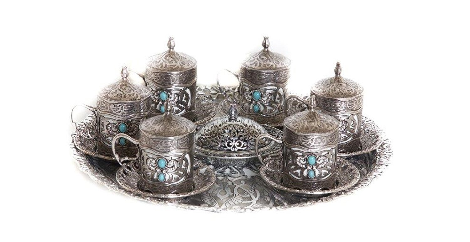 26 Piece Traditional Turkish Style Coffee Serving Set Nickel and Porcelain with Colored Stone Insets (Antique Silver)