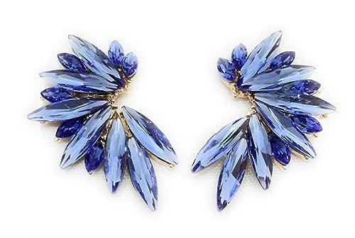 7f14a816abee Pendientes Cristales Colores Mujer Pendientes Fiesta Boda Medio Aro ...