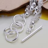 Six lignes de lumiere Perles en argent sterling multiples chaines Bracelet - Argent