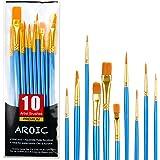 Acrylic Paint Brush Set, 1 Packs / 10 pcs Nylon Hair Brushes for All Purpose Oil Watercolor Painting Artist Professional Kits