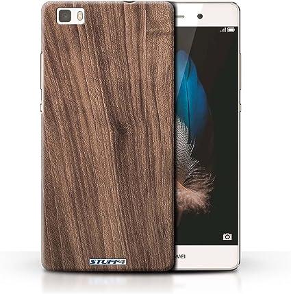 Stuff4 Coque pour Huawei P8 Lite Motif Grain de Bois Noyer Désign Transparent Etui Housse Case Rigide Ultra Mince