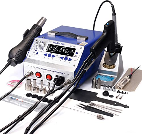 YIHUA 948-II 4 in 1 Hot Air Rework Soldering Iron and Desoldering Suction Tin Gun Station with Suction Pick Up Pen F C