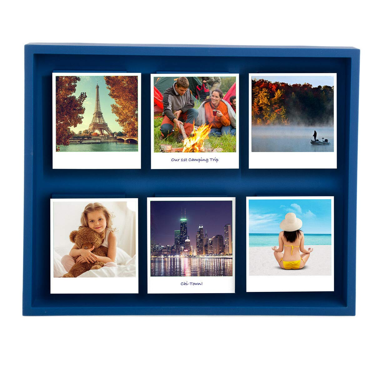 DN_DEA Wonderful Shadow Box Magnetic 12 x 10'' Polaroid Photo Frame Holds 6 Pictures Photographs Color Blue
