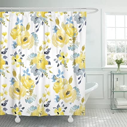 Emvency Shower Curtain Black Floral Watercolor Bright Summer Pattern Yellow And Blue Abstract Flowers Gray Simple