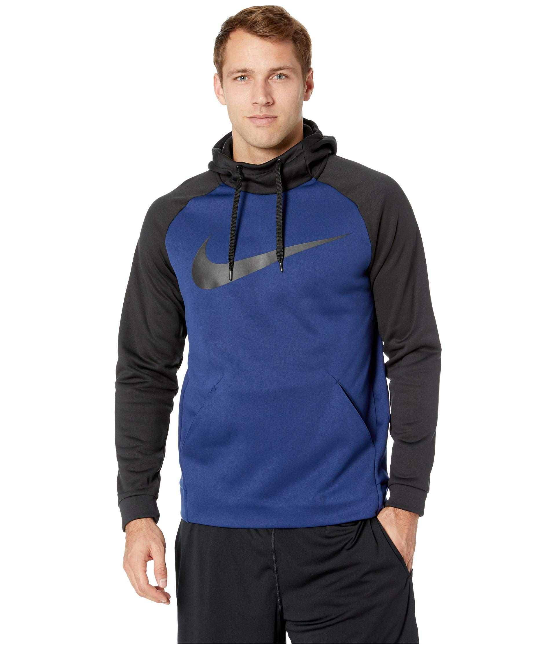 Nike Mens Therma Swoosh Essential Pull Over Hoodie Blue Void/Black 931991-478 Size Large by Nike